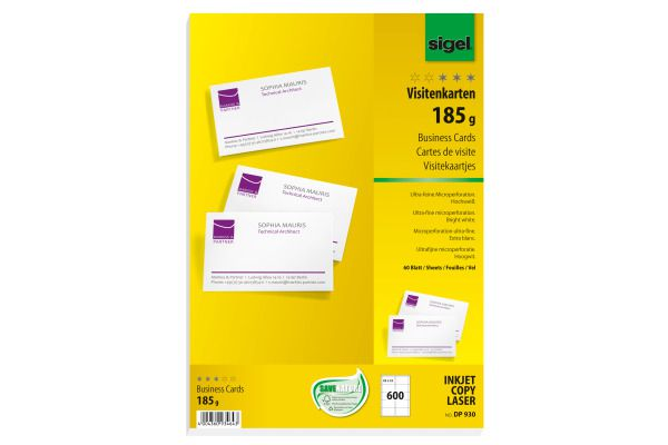 SIGEL Cartes De Visite 85x55mm